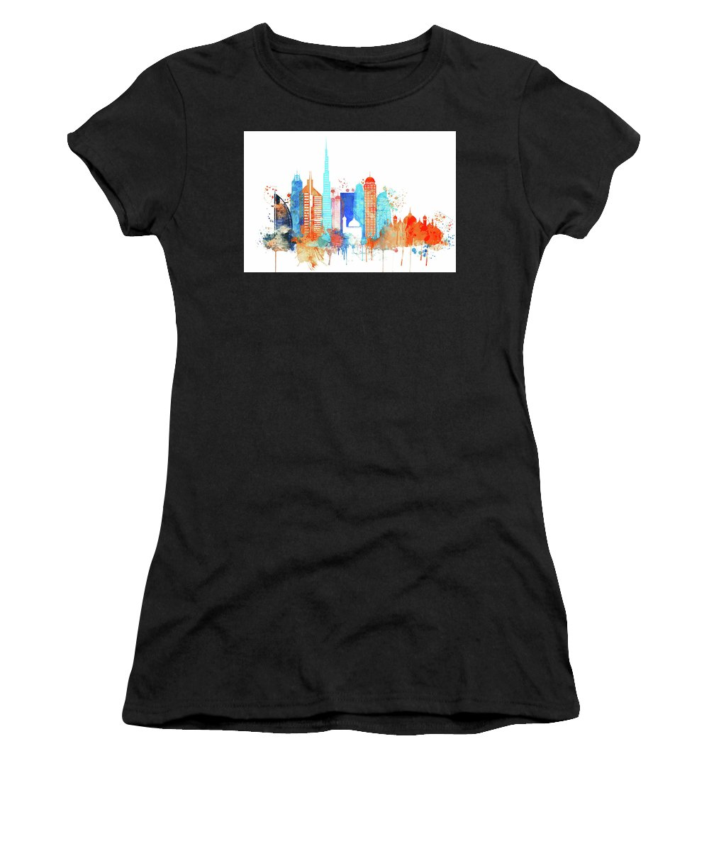 Watercolor Skyline Of Dubai Women's T-Shirt (Athletic Fit) featuring the painting Watercolor Skyline Of Dubai by Dim Dom