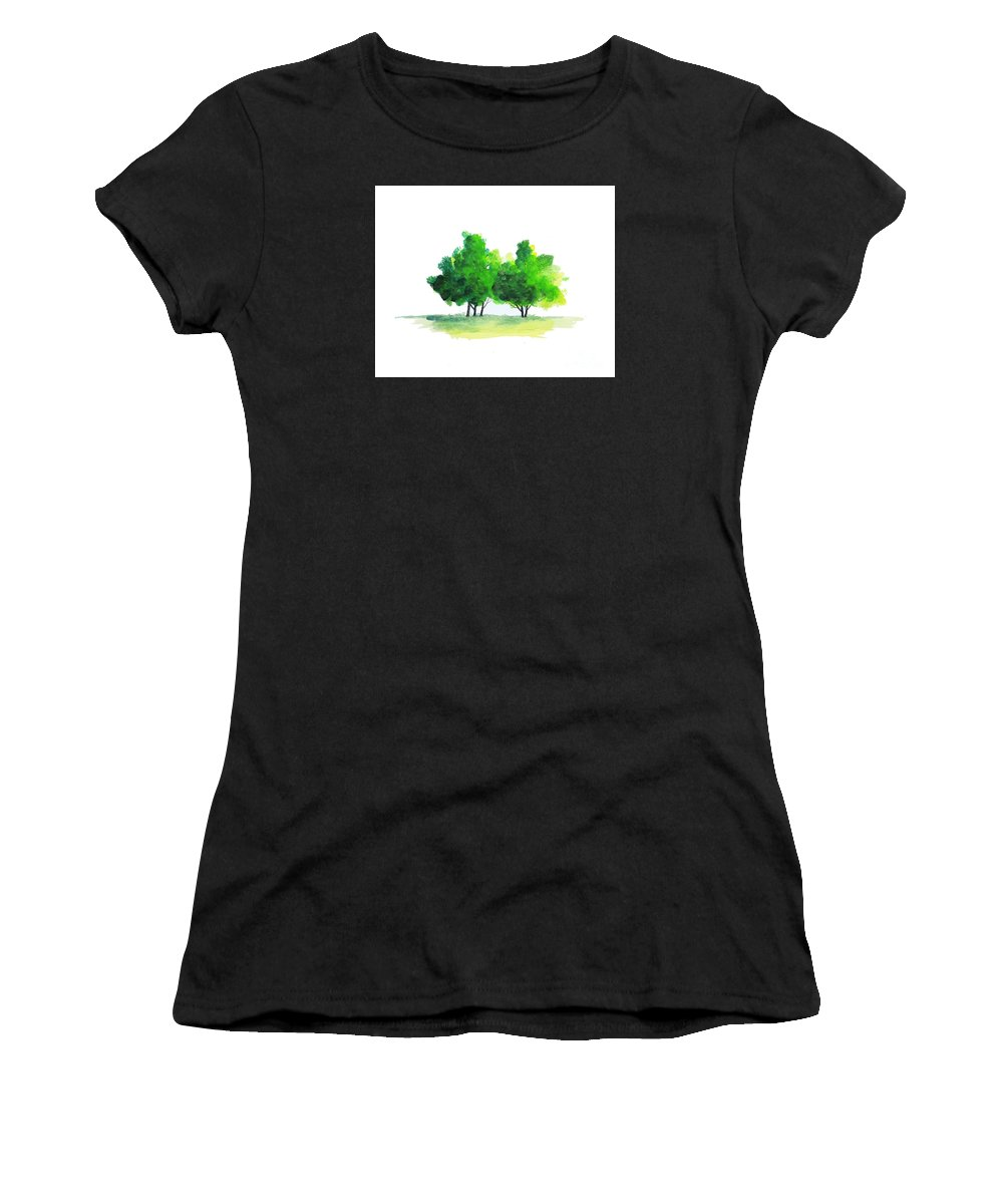 Art Women's T-Shirt (Athletic Fit) featuring the painting Watercolor Tree by Rasirote Buakeeree