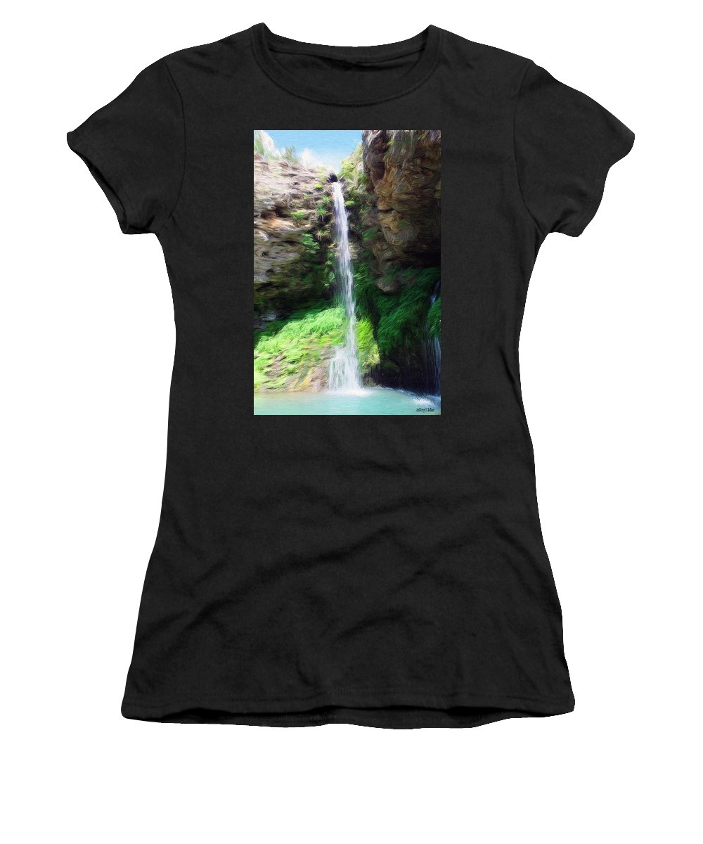 Water Women's T-Shirt (Athletic Fit) featuring the painting Waterfall 2 by Jeffrey Kolker