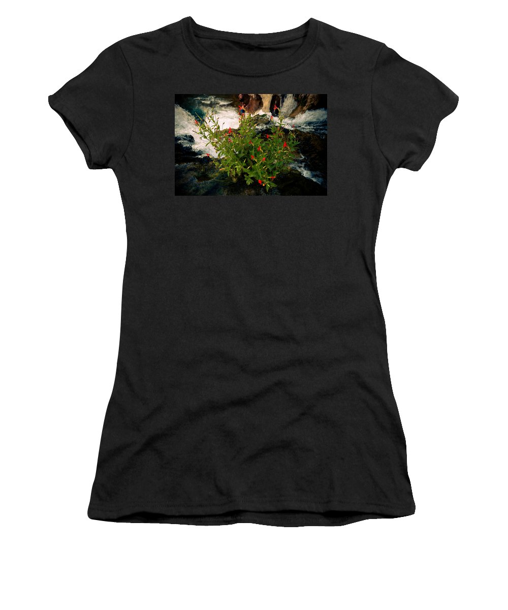 Flowers Women's T-Shirt (Athletic Fit) featuring the photograph Waterfall Flowers by Scott Sawyer