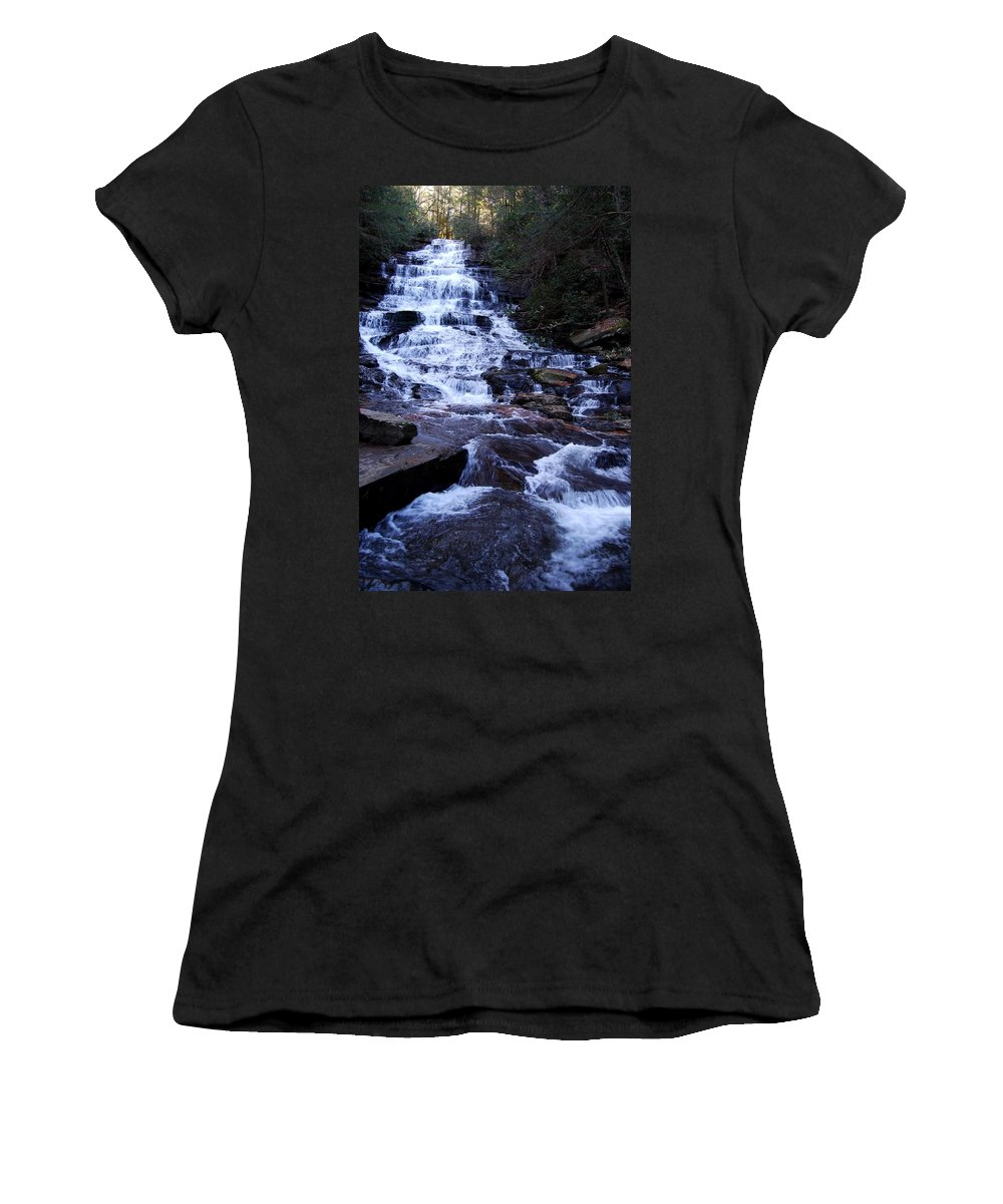 Waterfall Women's T-Shirt (Athletic Fit) featuring the photograph Waterfall In Georgia by Angela Murray