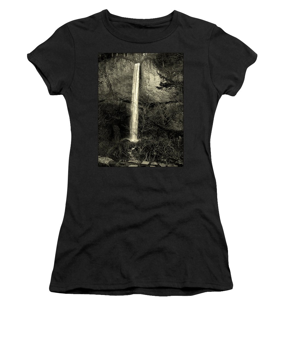 Waterfall Women's T-Shirt (Athletic Fit) featuring the photograph Waterfall by Sara Stevenson