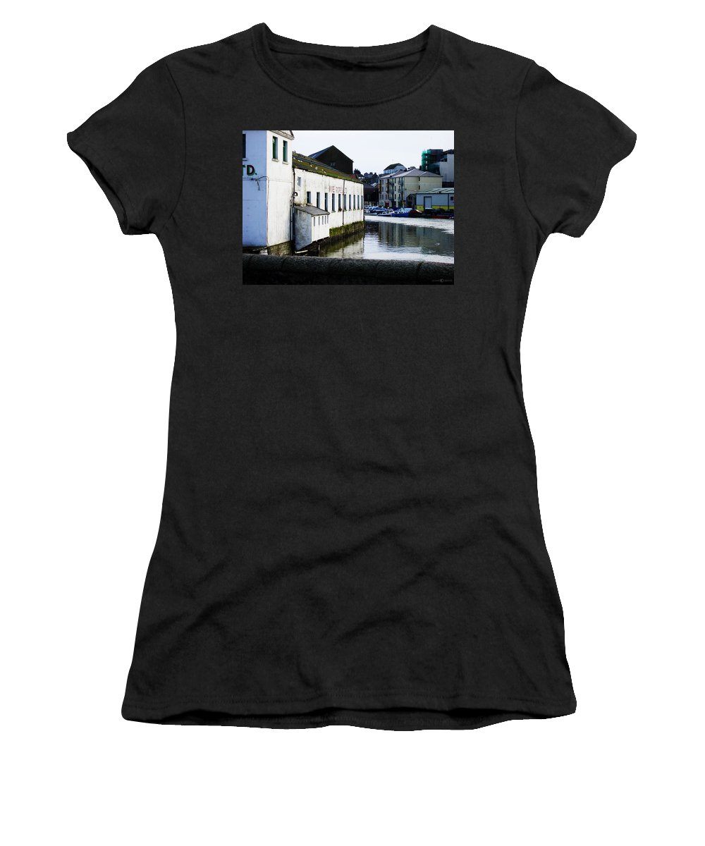River Women's T-Shirt (Athletic Fit) featuring the photograph Waterfront Factory by Tim Nyberg