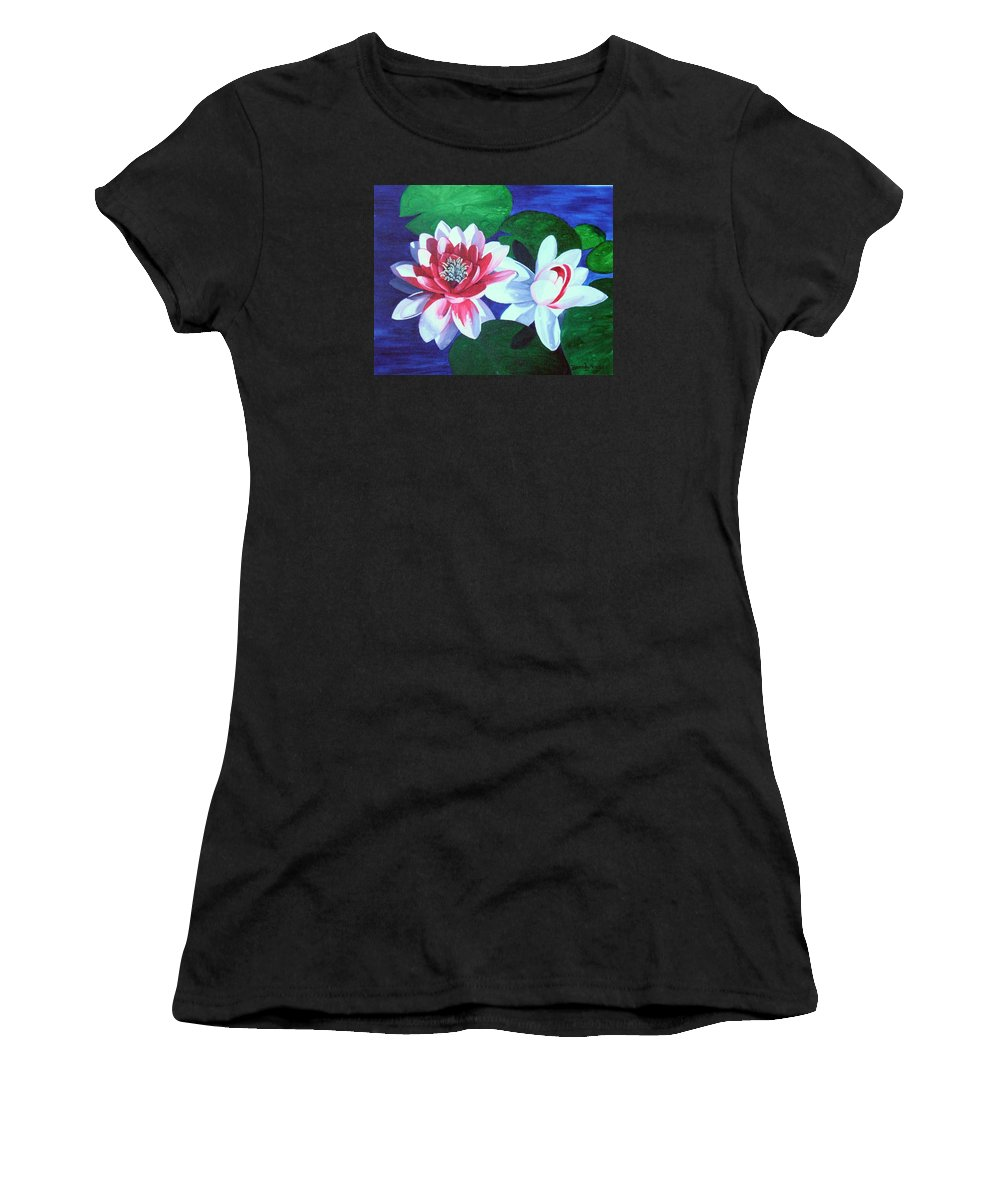 Water Lilies Women's T-Shirt (Athletic Fit) featuring the painting Waterlily Dance by Brandy House