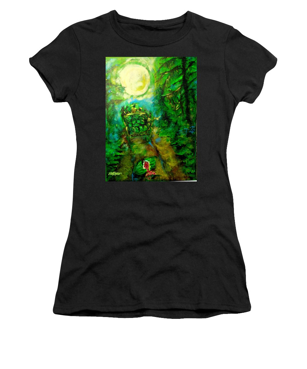 Watermelon Wagon Moon Women's T-Shirt (Athletic Fit) featuring the painting Watermelon Wagon Moon by Seth Weaver