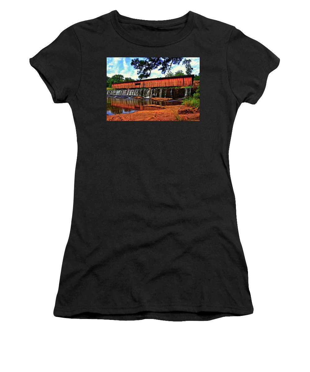 Waterfall Women's T-Shirt featuring the photograph Watson Mill Covered Bridge 042 by George Bostian