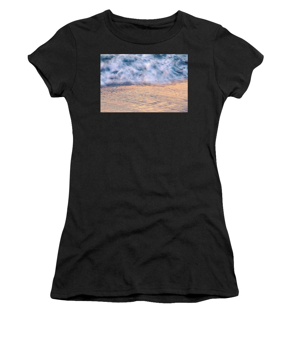 Abstract Women's T-Shirt (Athletic Fit) featuring the photograph Wave Abstract 3, Hoi An, 2014 by Hitendra SINKAR