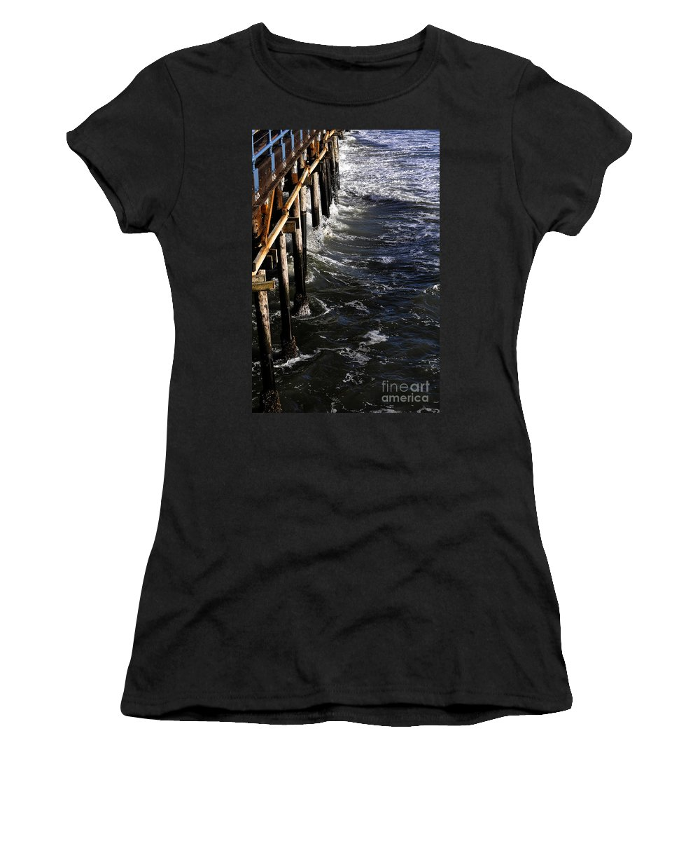 Clay Women's T-Shirt (Athletic Fit) featuring the photograph Waves Hitting Santa Monica Pier by Clayton Bruster