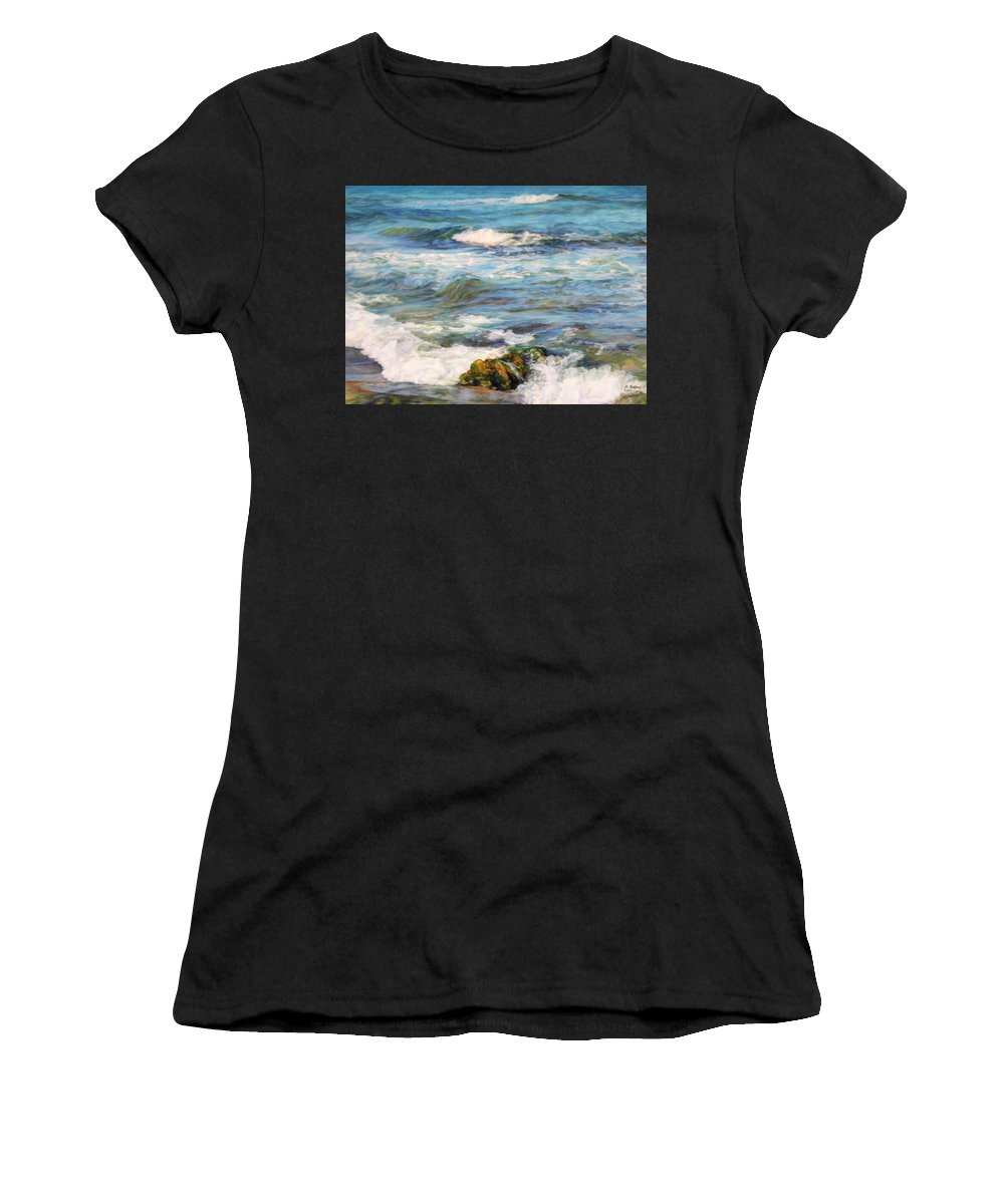 Waves Women's T-Shirt (Athletic Fit) featuring the painting Sea Waves ... by Maya Bukhina
