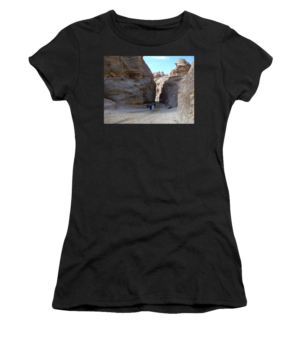 Petra Women's T-Shirt (Athletic Fit) featuring the photograph Way To Petra by Munir Alawi