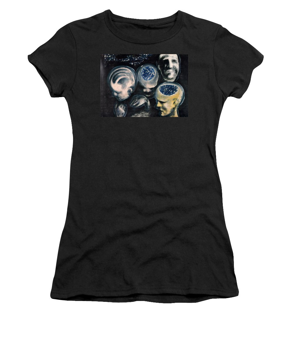 Universe Aura Thoughts Thinking Faces Mistery Women's T-Shirt (Athletic Fit) featuring the mixed media We Are Universe by Veronica Jackson