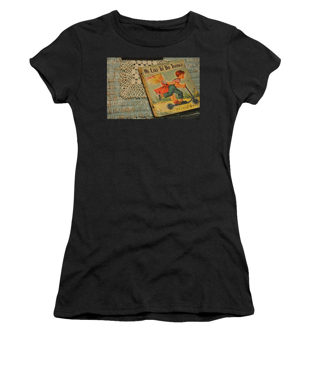 Still Life Women's T-Shirt featuring the photograph We Like To Do Things by Jan Amiss Photography