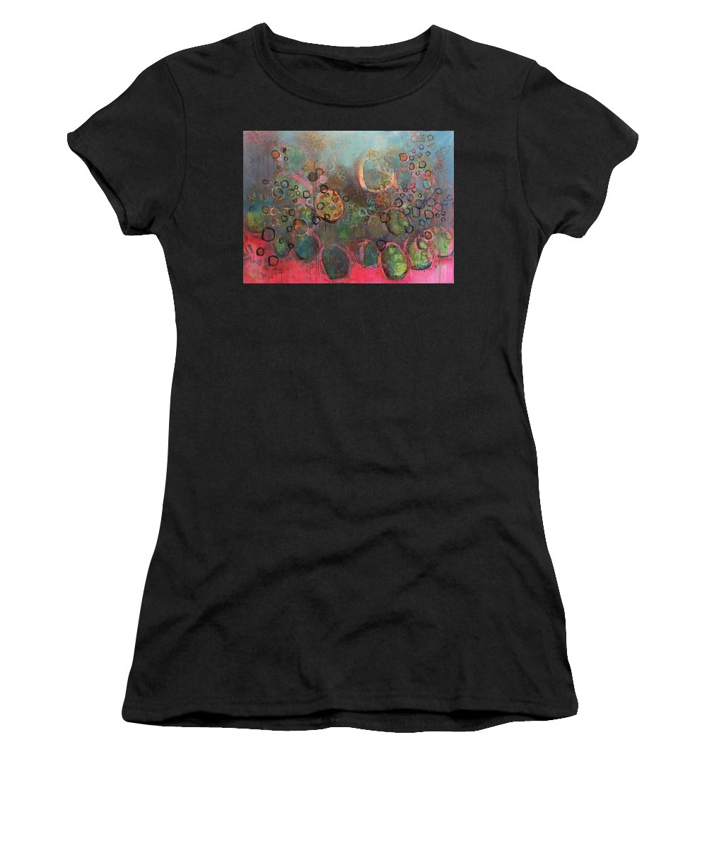 Pink Women's T-Shirt (Athletic Fit) featuring the painting We Never Finish Where We Begin by Laurie Maves ART