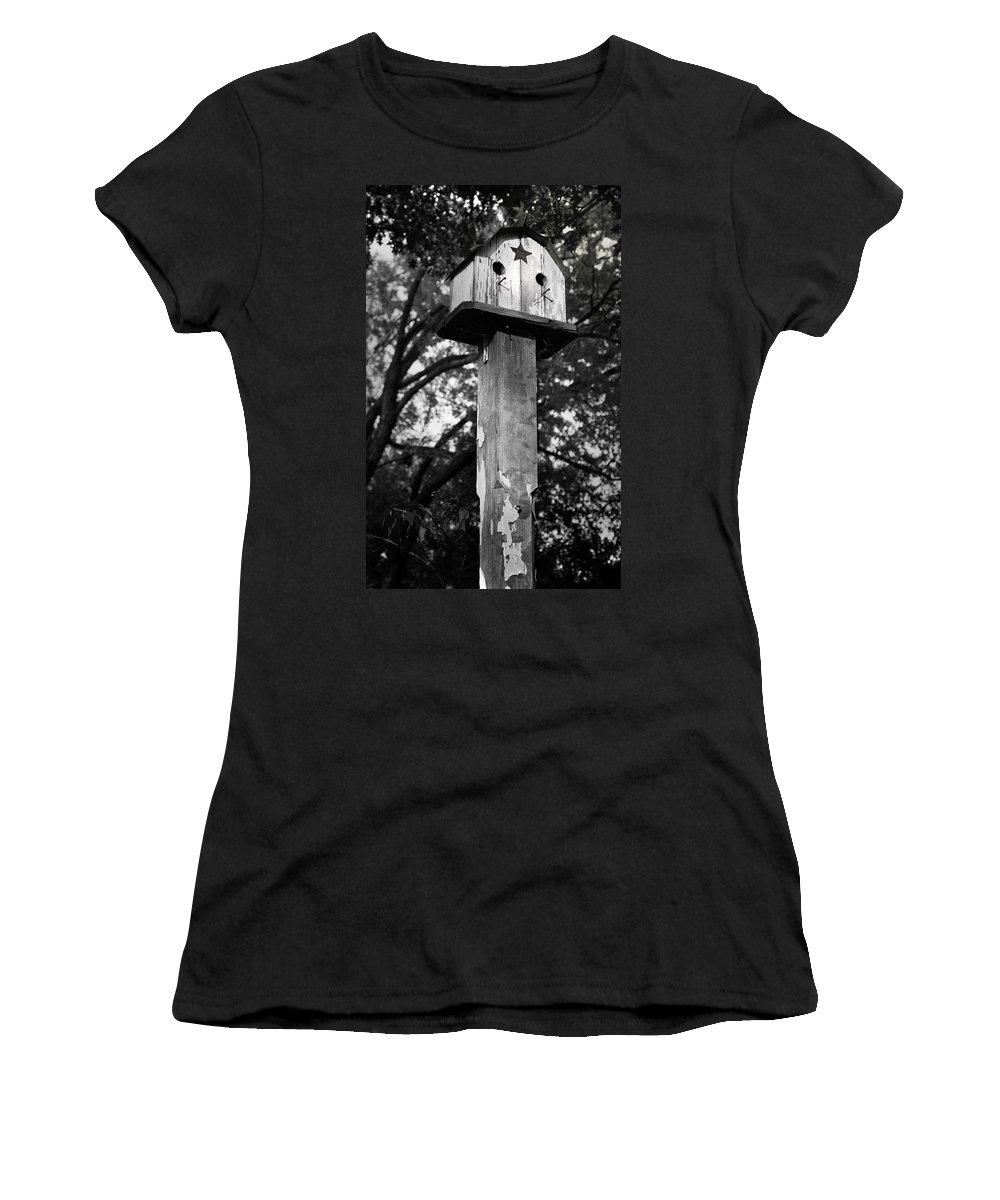 Birdhouse Women's T-Shirt featuring the photograph Weathered Bird House by Teresa Mucha