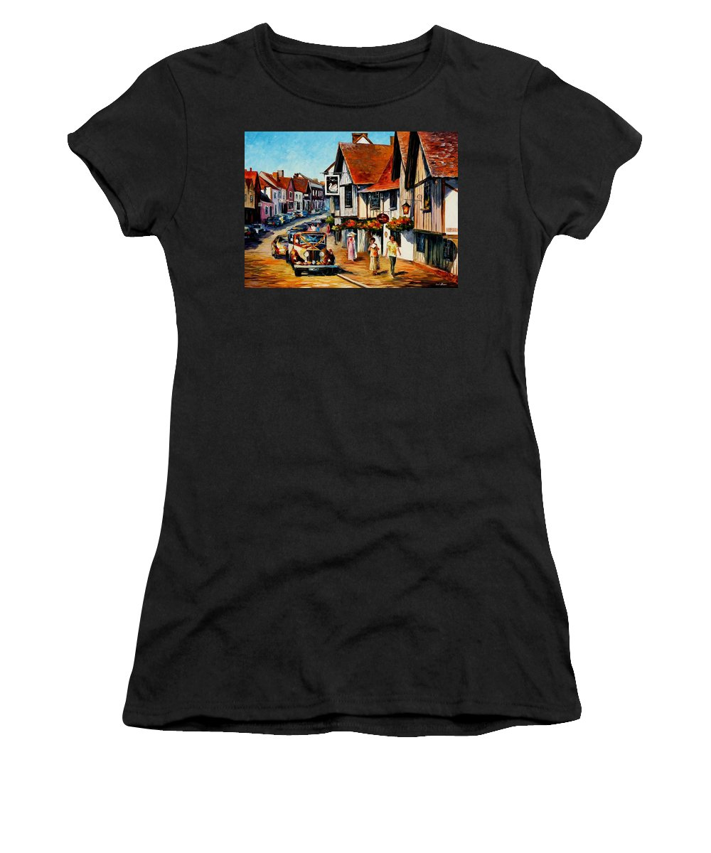 Afremov Women's T-Shirt (Athletic Fit) featuring the painting Wedding Day In Lavenham - Suffolk England by Leonid Afremov