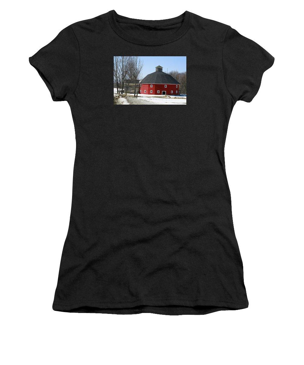 Barn Women's T-Shirt featuring the photograph Welch Round Barn by Deborah Benoit