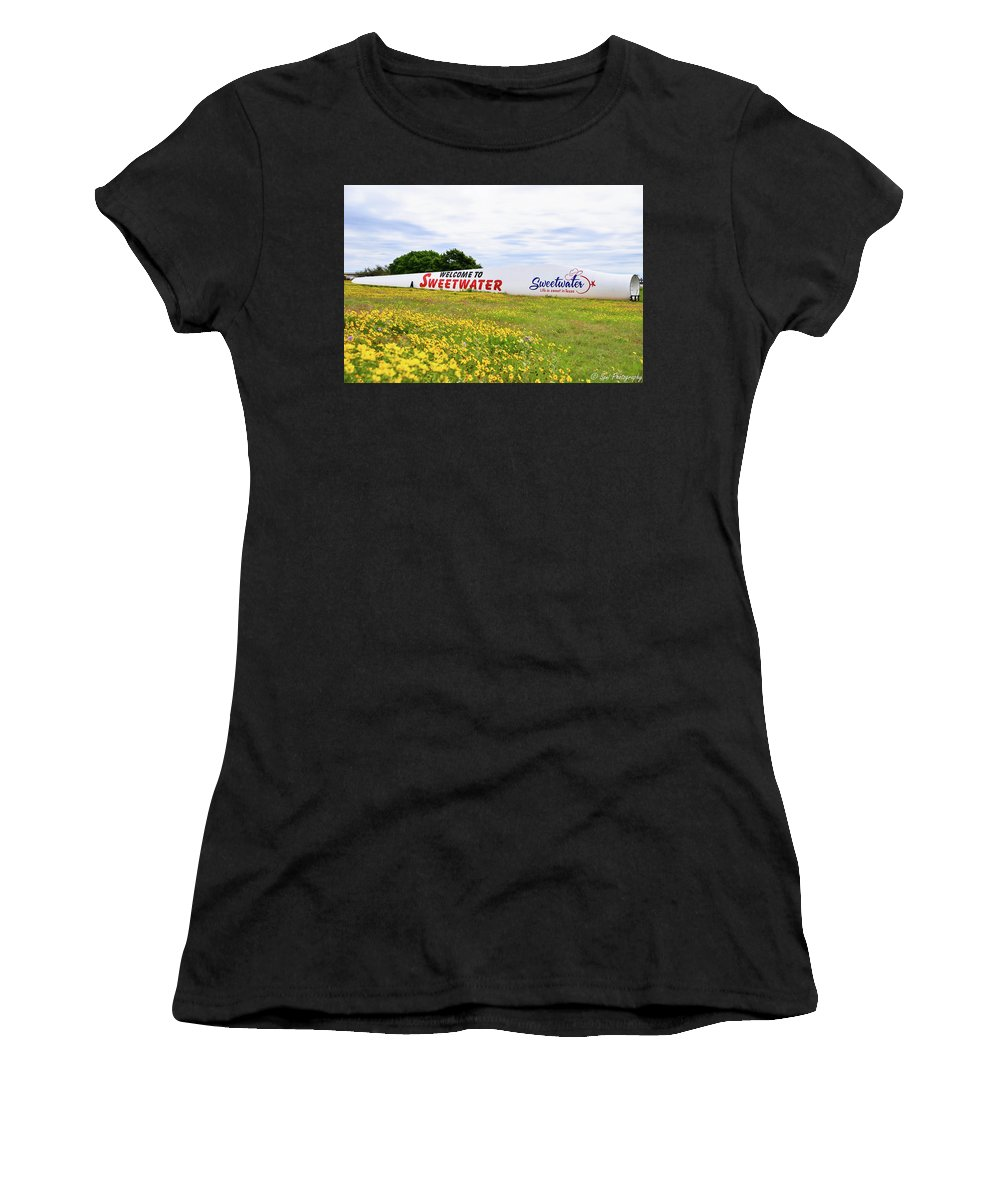 Green Grass Women's T-Shirt (Athletic Fit) featuring the photograph Welcome Sign by Soni Macy