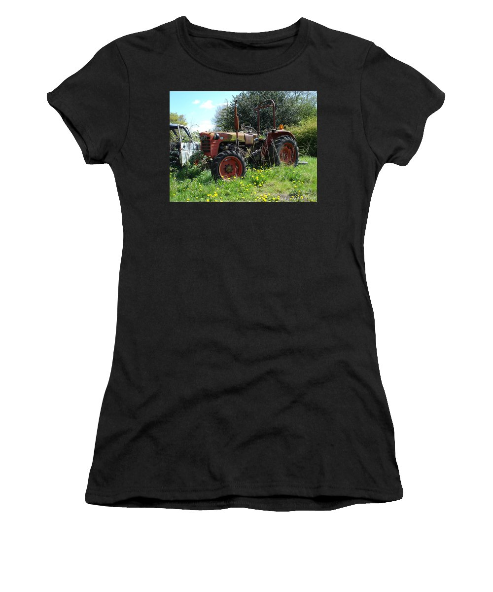 Tractor Women's T-Shirt (Athletic Fit) featuring the photograph Well And Truely Retired by Susan Baker