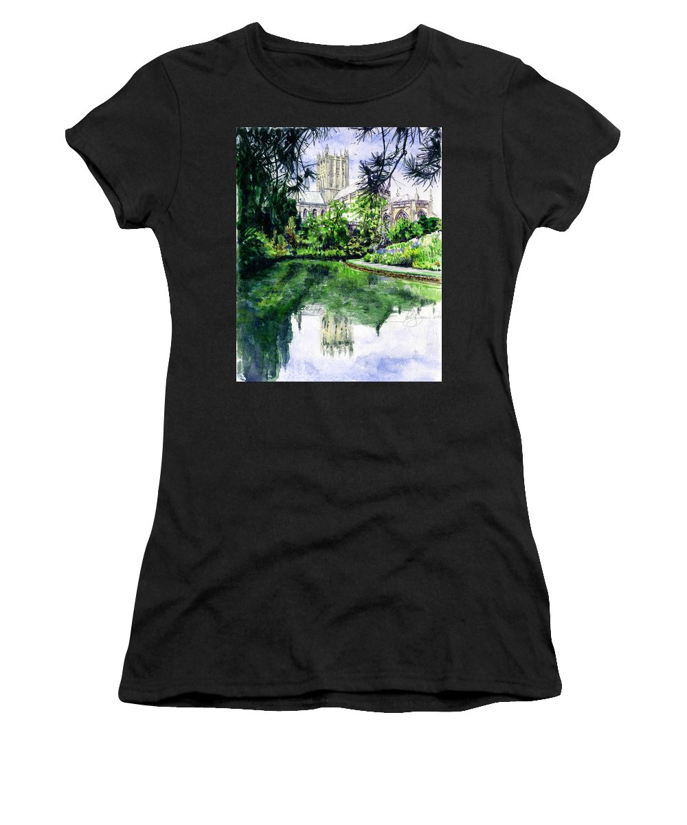 Wells Women's T-Shirt (Athletic Fit) featuring the painting Wells Cathedral by John D Benson