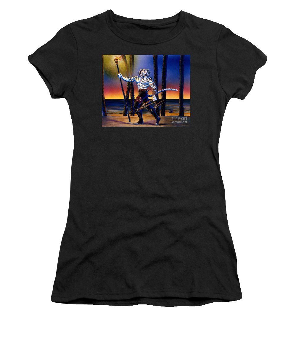 Were Cat Women's T-Shirt (Athletic Fit) featuring the painting Werecat With Torch by Melissa A Benson