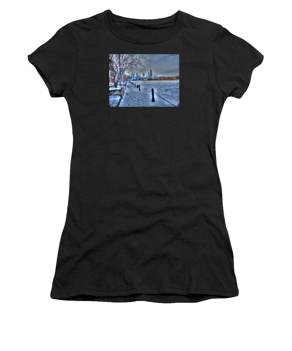 Chicago Illinois Women's T-Shirt featuring the photograph West From Navy Pier by David Bearden