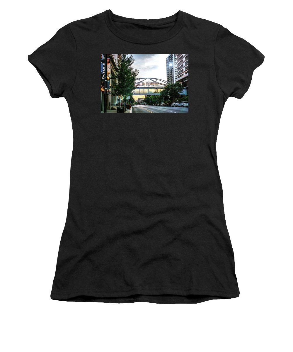 Louisville Women's T-Shirt featuring the photograph West On Main by Kevin Jackson
