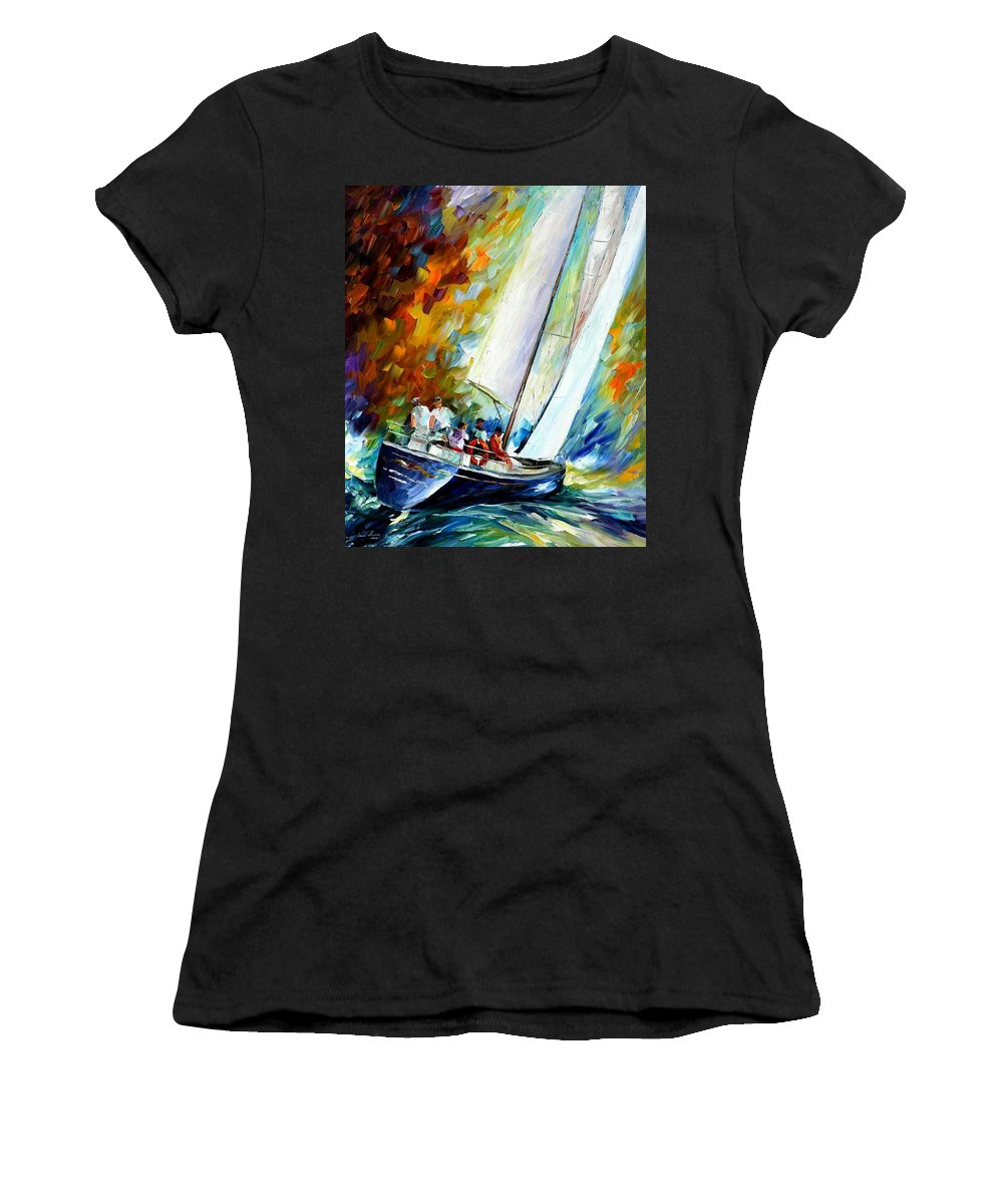 Afremov Women's T-Shirt (Athletic Fit) featuring the painting West Wind by Leonid Afremov