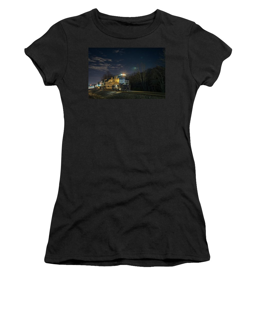 Train Women's T-Shirt featuring the photograph Westbound Norfolk Southern 375 At Georgetown In by Jim Pearson