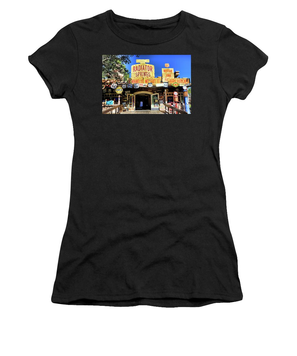 California Adventure Women's T-Shirt (Athletic Fit) featuring the photograph Western Junk Shop California Adventure by Chuck Kuhn
