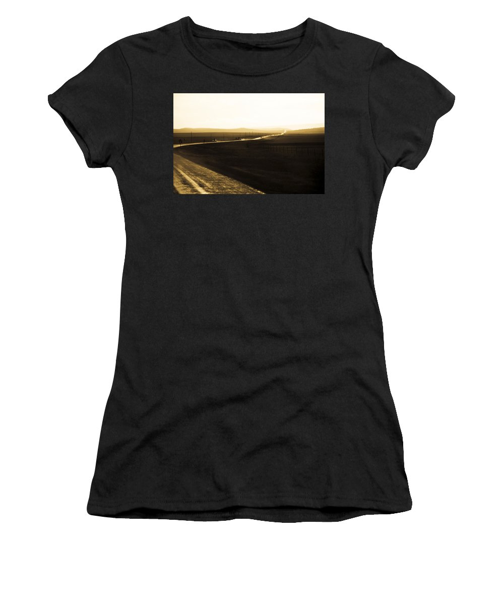 Rain Women's T-Shirt (Athletic Fit) featuring the photograph Western Rain by Marilyn Hunt