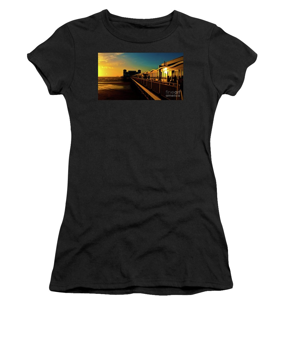 Weston Women's T-Shirt (Athletic Fit) featuring the photograph Weston Pier At Sunset by Rob Hawkins