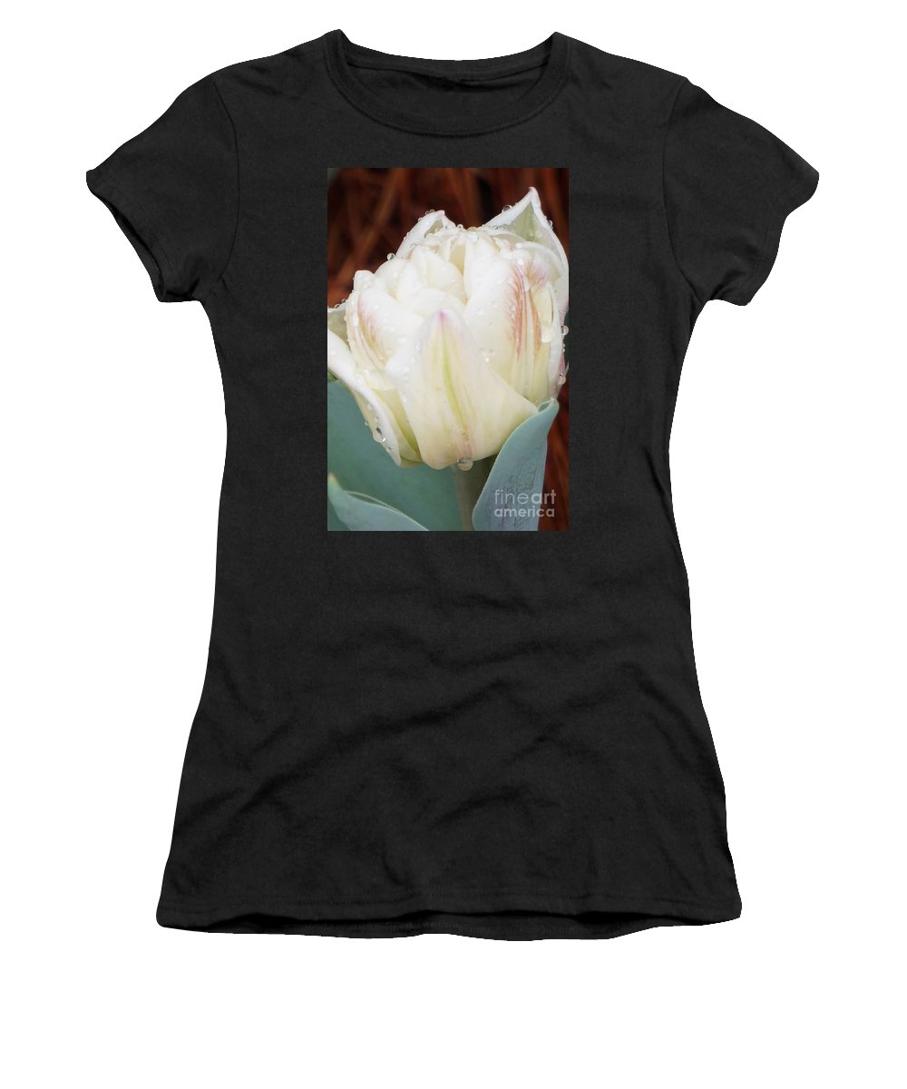 Tulip Women's T-Shirt featuring the photograph Wet Tulip by Maxine Billings
