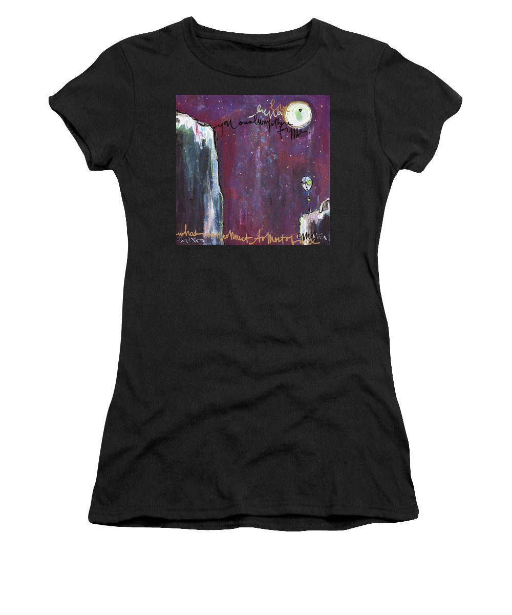 Moon Women's T-Shirt featuring the painting What I Connect To Most Of All by Laurie Maves ART