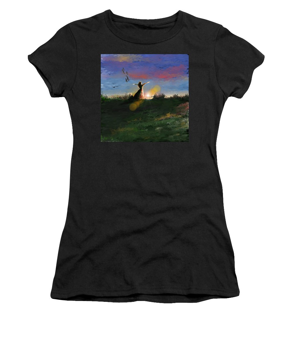 Morning Sunrise Star Woman Nature Sky Clouds Women's T-Shirt (Athletic Fit) featuring the mixed media What's The Story Morning Glory by Veronica Jackson