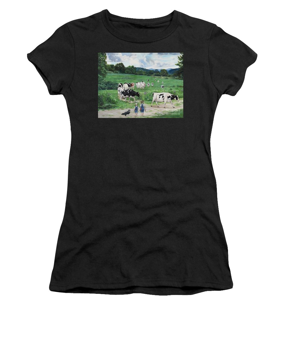 Cows Women's T-Shirt (Athletic Fit) featuring the painting When The Cows Come Home, It's Milking Time by Heidi Parmelee-Pratt