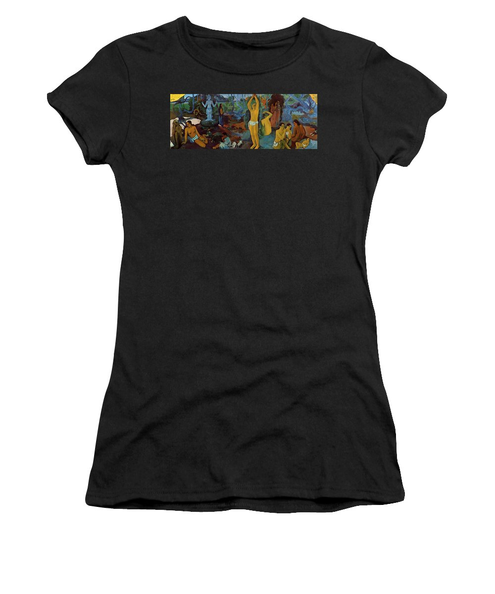 Where Women's T-Shirt (Athletic Fit) featuring the painting Where Do We Come From What Are We Where Are We Going 1897 by Gauguin Paul