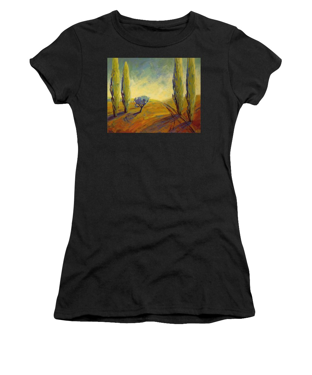 Contemporary Women's T-Shirt (Athletic Fit) featuring the painting Where Evening Begins 2 by Konnie Kim
