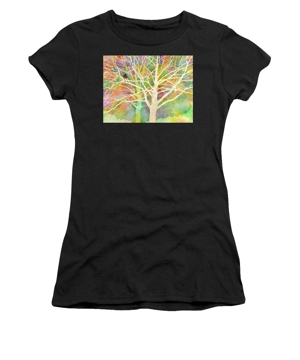 Cardinal Women's T-Shirt featuring the painting Whisper by Hailey E Herrera