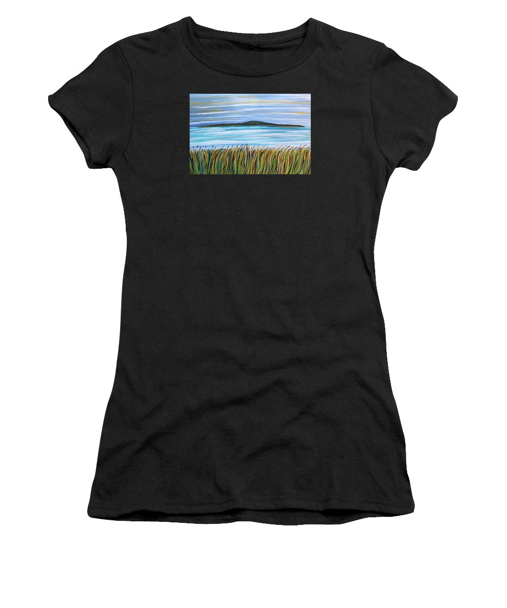 Seacape Women's T-Shirt (Athletic Fit) featuring the painting Whispering Grass by Shirley Kent