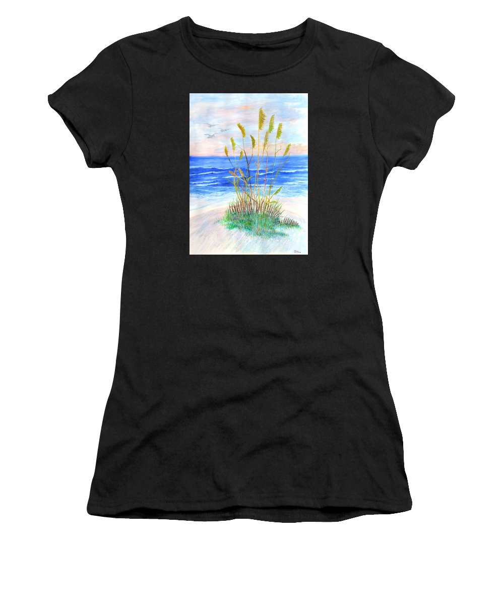 Sea Oats Women's T-Shirt featuring the painting Whispering Sea Oats by Ben Kiger