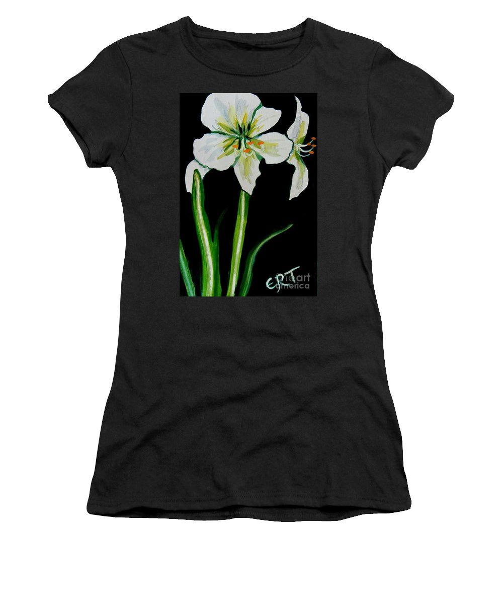 Black And White Women's T-Shirt (Athletic Fit) featuring the painting White Amaryllis by Elizabeth Robinette Tyndall