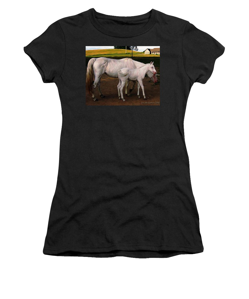 White Horses Women's T-Shirt (Athletic Fit) featuring the painting White Baby Horse by Jill Baker