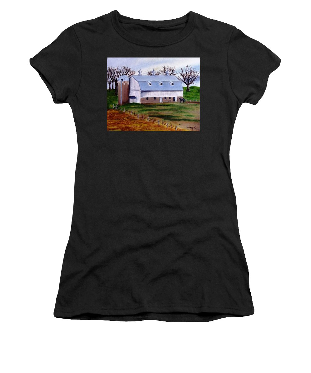 White Women's T-Shirt featuring the painting White Barn On A Cloudy Day by Mendy Pedersen