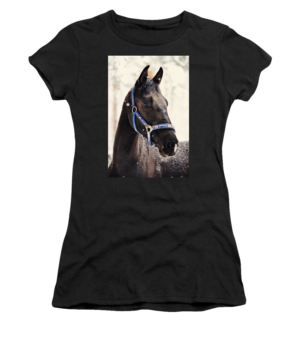 Horse Women's T-Shirt featuring the photograph White Beard by Jenny Rainbow