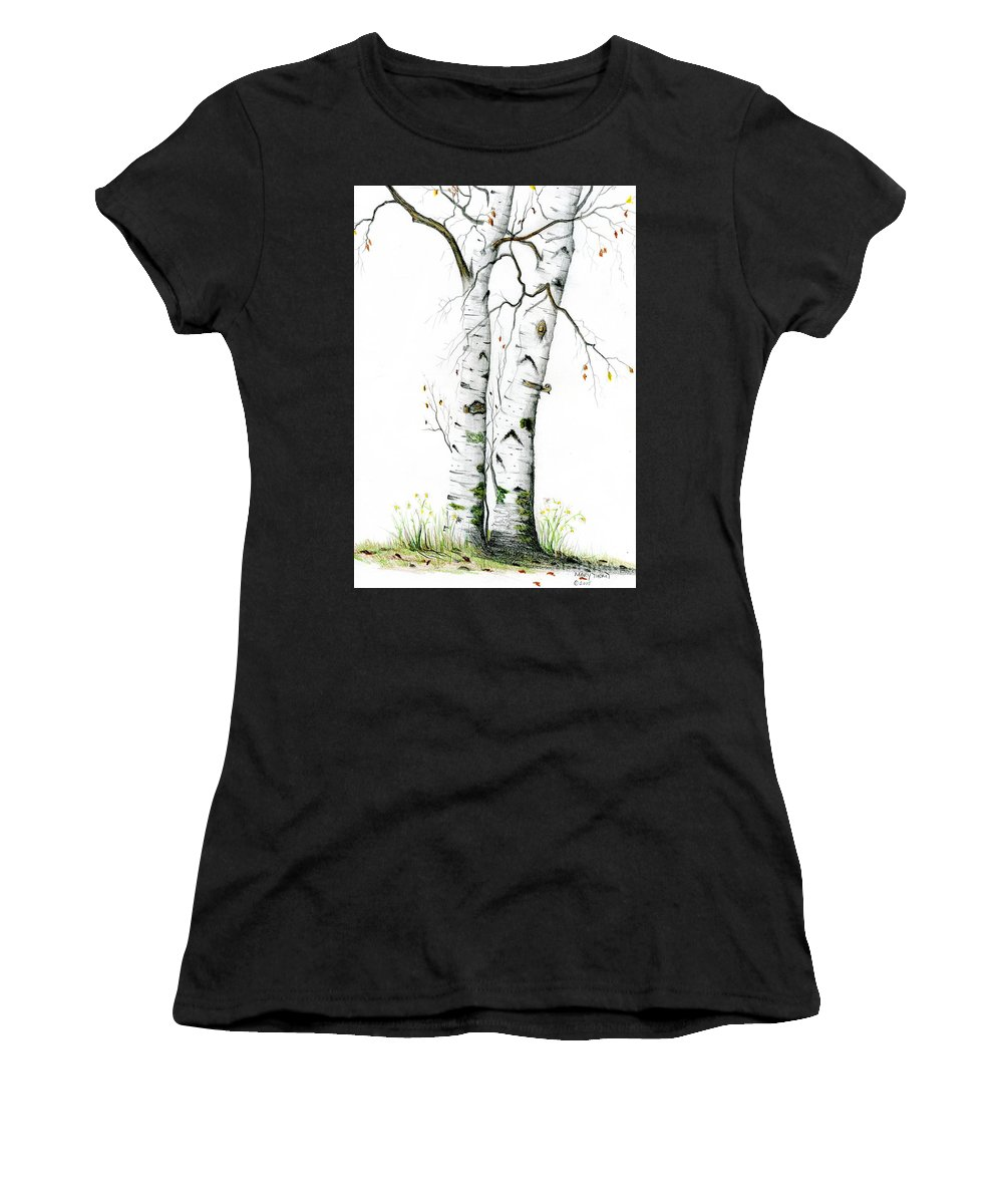 White Birch Women's T-Shirt featuring the painting White Birch by Mary Tuomi