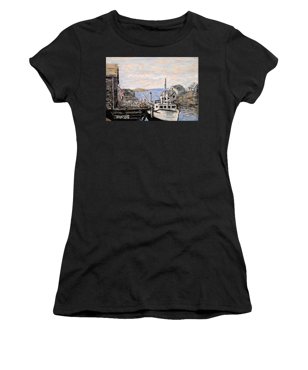 White Women's T-Shirt (Athletic Fit) featuring the painting White Boat In Peggys Cove Nova Scotia by Ian MacDonald