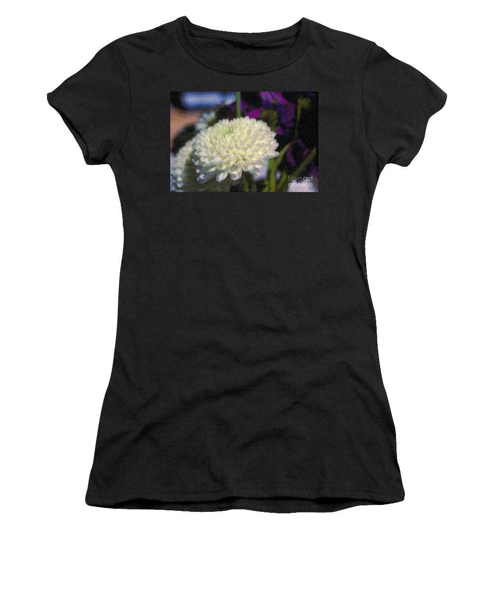 White Chrysanthemum Flower Beautiful Mum Women's T-Shirt (Athletic Fit) featuring the photograph White Chrysanthemum Flower by David Zanzinger