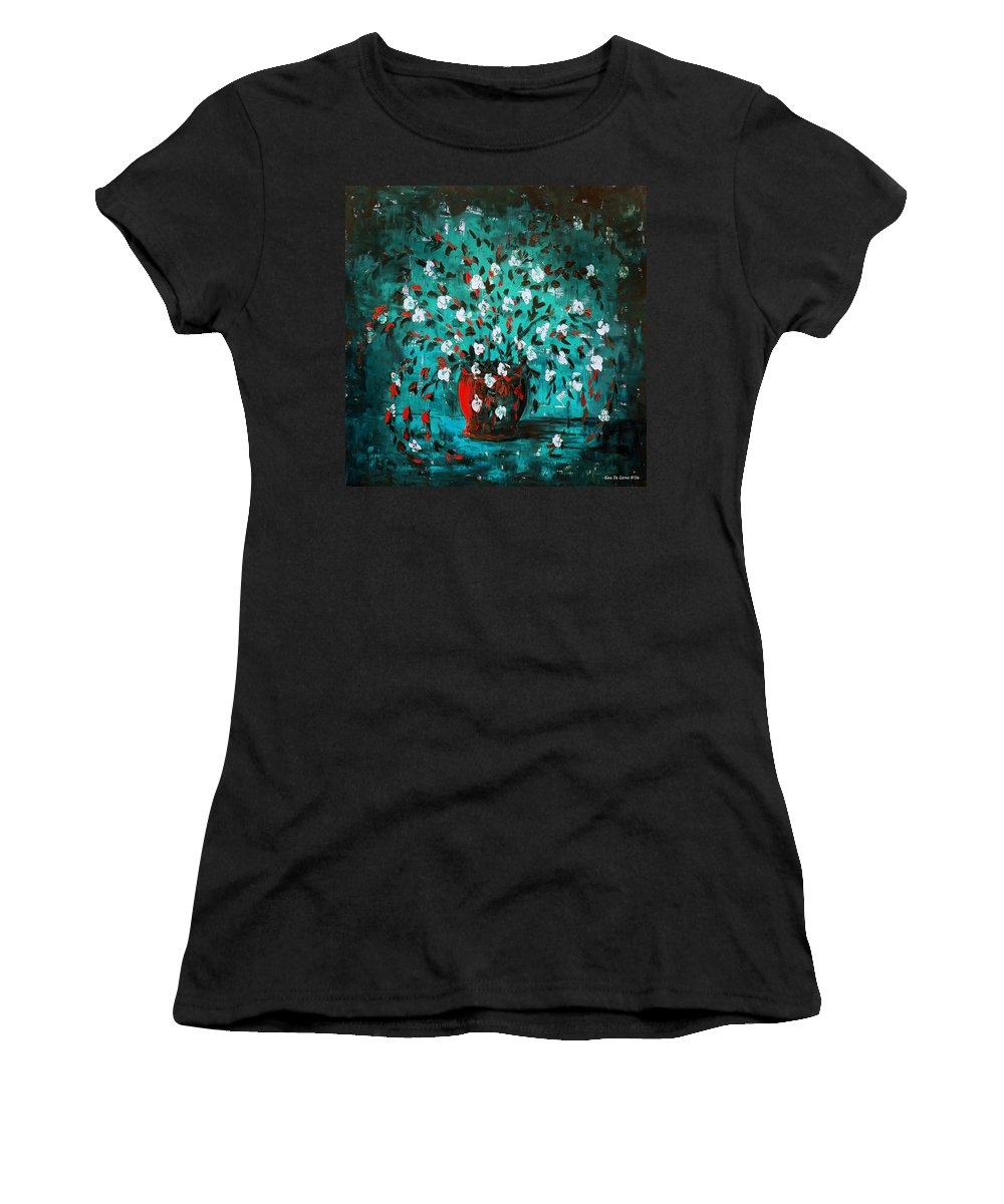 Flowers Women's T-Shirt (Athletic Fit) featuring the painting White Flowers 2 by Gina De Gorna