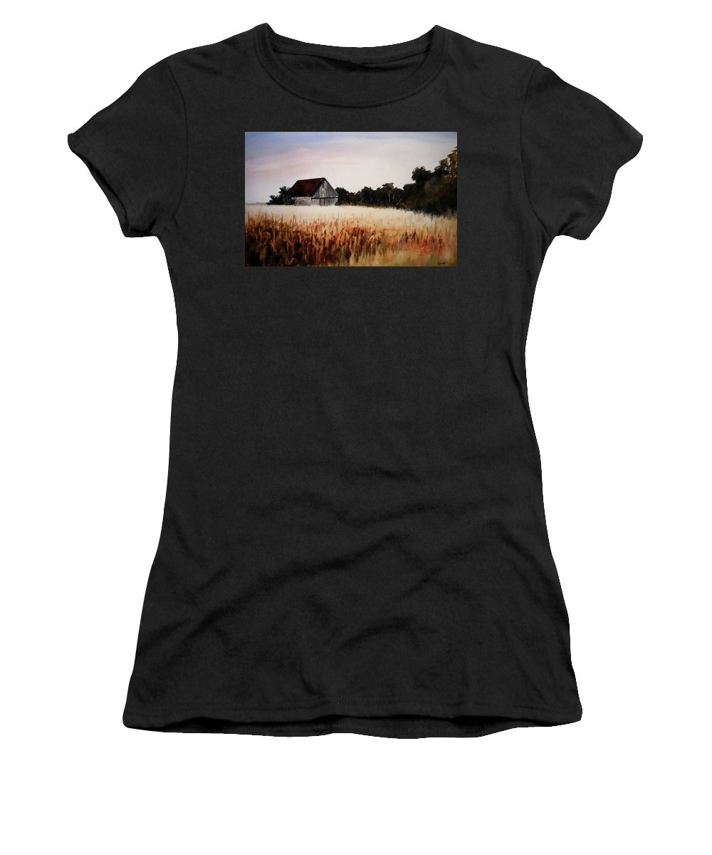 Landscape Women's T-Shirt (Athletic Fit) featuring the painting White For Harvest by Rachel Christine Nowicki