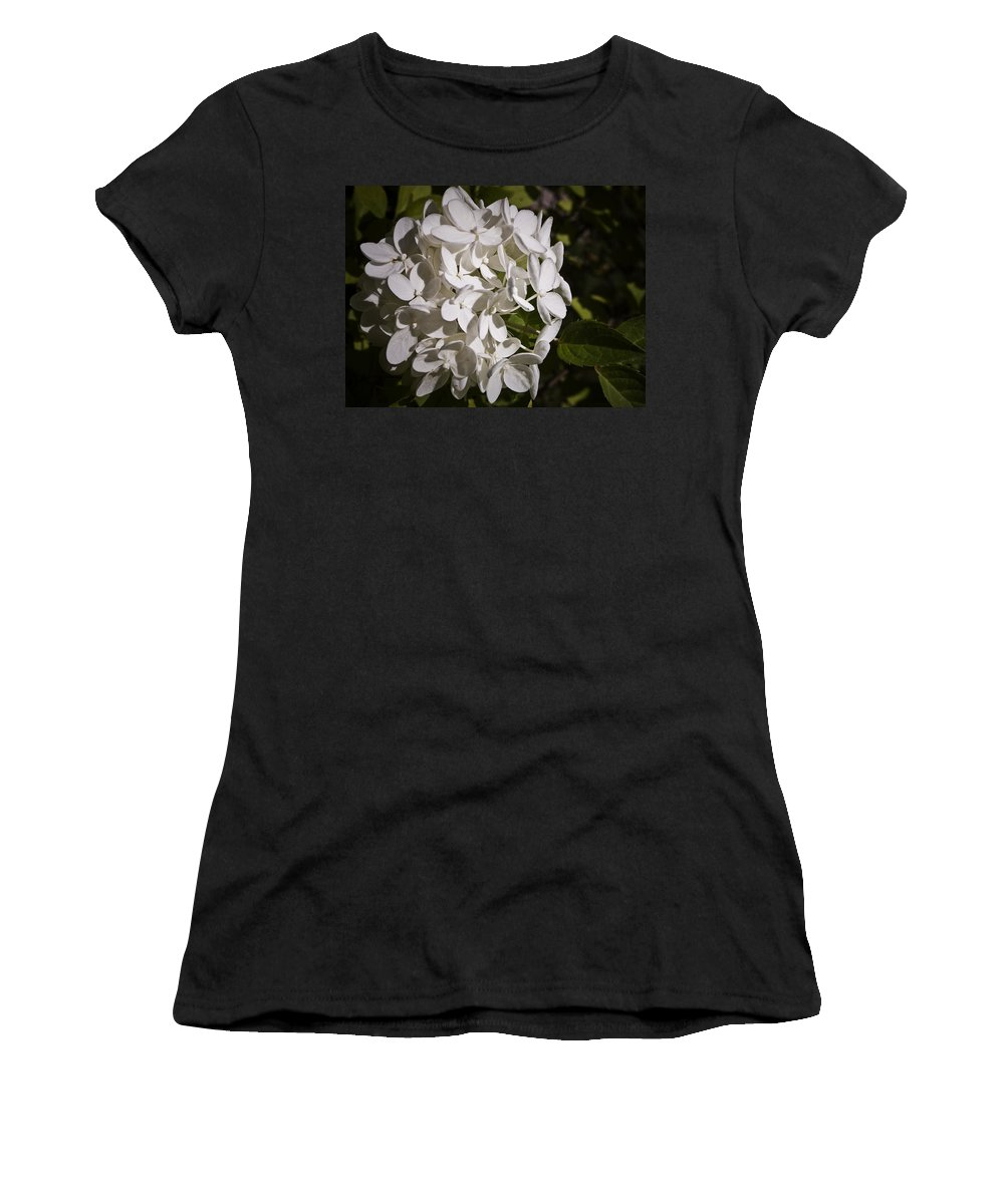 Hydrangea Women's T-Shirt (Athletic Fit) featuring the photograph White Hydrangea Bloom by Teresa Mucha